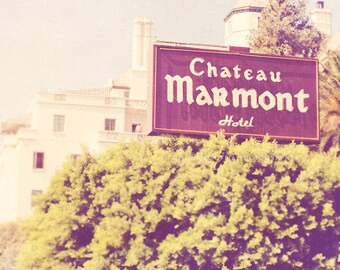 Hollywood photography, Los Angeles, Chateau Marmont hotel, celebrities famous actors rock stars purple plum sign, french architecture