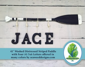 """Baby Name Letters (4) 41"""" Washed Distressed Paddle with Stripes 4 Hanging Wood Letters and Nautical Rope / Nautical Nursery / Canoe Paddle"""