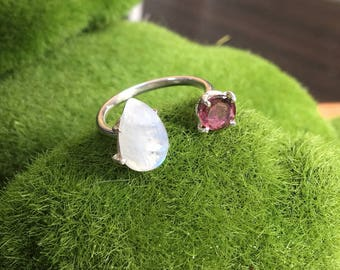 Moonstone Drop and a tourmaline Silver Ring, Pink tourmaline ring, moonstone ring, two stone ring, silver moonstone ring, moon stone ring