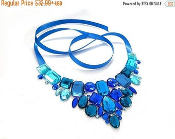 ON SALE Simple Blue Rhinestone Bib Necklace, Blue and Aqua Rhinestone Statement, Aqua Blue Rhinestone Bib Necklace, Formal Blue Necklace