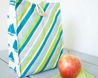 ON SALE Insulated Organic Cotton Lunch Bag -- Blue and Green Stripes with Teal Blue Sailboats -- PLASTIC Free!