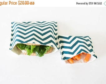 ON SALE PLASTIC-Free Teal Blue Chevron Sandwich and Snack Bags, Reusable, Organic Cotton, Eco Friendly - Set of 2