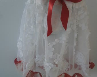 TUTU in White tulle and Red Bow with red rose petals on the bottom