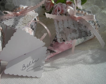 Place Card Sample One Table Favor Feminine Sample Tussie Mussie Pink Wedding Garden Party Tea Party Sweet Sixteen Graduation handcraftusa
