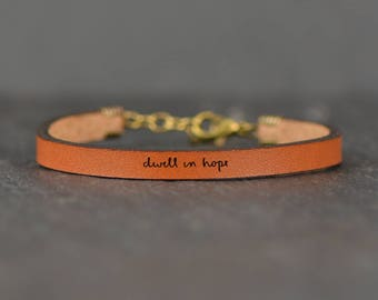 miscarriage jewelry | chemo gift | hope bracelet | meaningful gifts | adoption jewelry | leather bracelet | dwell in hope | don't give up