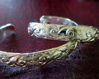 New Born or One Year Old-- Wide Sterling Baby Cuff with Swirls and Flowers