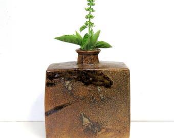 Mid Century Stoneware Vase/ Vintage Hand Built Art Studio Pottery