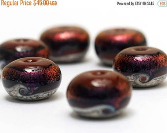 ON SALE 30% off Handmade Glass Lampwork Bead Sets - Six Hot Lava Waves Rondelle Beads 10903021
