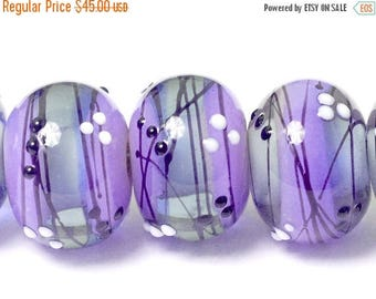 ON SALE 30% off Six Lilac Tea Party Rondelle Beads - Handmade Glass Lampwork Bead Set 10604821