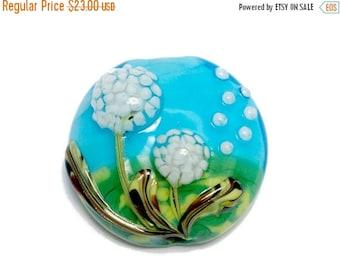 ON SALE 30% off NEW! 11838902 Dandelion Wishes Lentil Focal Bead - Handmade Glass Lampwork Bead