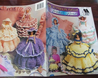 Doll Thread Crocheting Southern Belle Trinket Boxes Annie's Attic 87T82 Crochet Pattern Leaflet