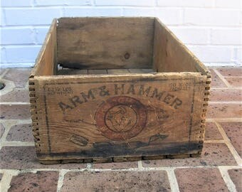 Antique Vintage Wooden Box Antique Vintage Wood Box Crate Antique Vintage Wooden Arm and Hammer Soda Box