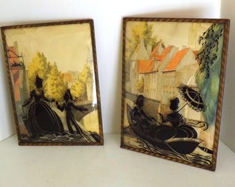 Vintage Pair Convex Silhouette Framed Picture Mother Son Woman and Sailor Boy Boating Scene Town Background 1940s
