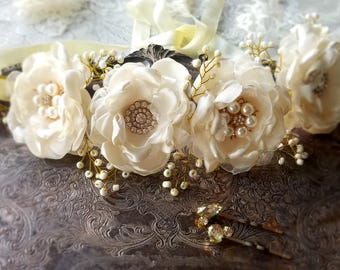 Gold Boho Hair Halo~ Wedding Hair Piece~ Bridal Hair Vine~Bridal Hair Flower Wreath~Crystal And Pearl Bridal Hair Piece~Wedding hair Vine