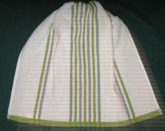 Crochet Kitchen Hanging Towel white w green stripes bright green top Better Homes