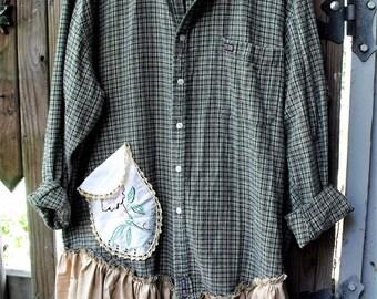 Sheerfab Flannels/ Upcycled Flannel Shirt Tunics/ Men's Refashioned Shirts/ Plus Size Flannel Embellished Tunics/ Sheerfab Fall 17 Funwear