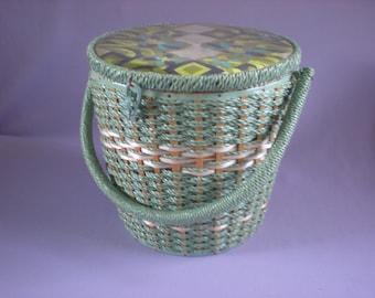 Large Sewing Basket-Weaved Sewing Basket-Vintage Sewing Basket-Vintage Home Decor