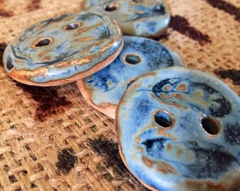 Boho Feather Pottery Buttons- Blue, Set of 4