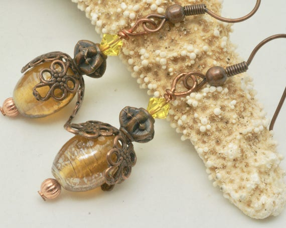 Firefly Earrings, Lightening Bug Earrings, Firefly Jewelry, Summer Bug Jewelry, Yellow Earrings with Gold Brown Filagree Inspired by the