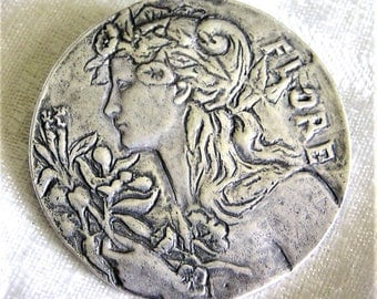 Vintage Sterling Silver Art Nouveau Design Pendant Brooch Combination with Beautiful Lady with Flowers in Her Hair Signed LLC on Back. (D16)