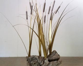 Mid Century Modern Brutalist Metal Brass Copper and Burl Wood Cattail Kinetic Sculpture