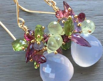Multi Gemstone Cluster Earrings Chalcedony Cluster Earrings