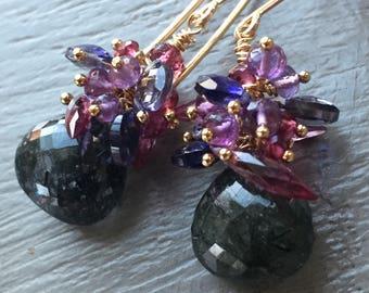 Black Tourmalinated Quartz Cluster Earrings