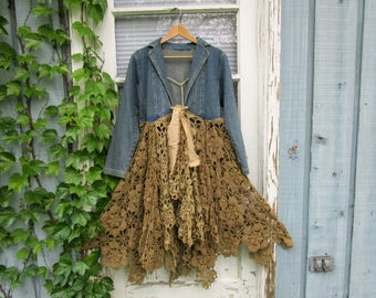 Romantic Tea Stained Crochet Denim Coat// Upcycled Duster// Small// Shabby Chic Coat// emmevielle