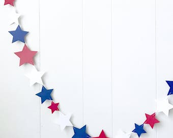 Red White Blue Star Garland / Patriotic Decoration / Garland Bunting / Kids RoomDecor / Nursery Decor / Photo Prop / Fourth of July
