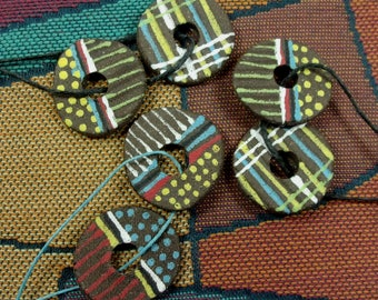One PAIR of Ceramic Earthenware Spirit Hole Disc Beads, Reversible with Patterning on Each Side, Jewelry Components & Essential Oil Carriers