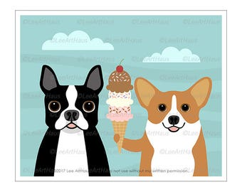 352D - Ice Cream Art - Boston Terrier and Corgi Eating Ice Cream Cone Wall Art - Corgi Print - Boston Terrier Drawing - Ice Cream Decor
