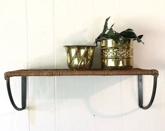 woven wicker wall shelf with metal brackets - hall entry bath plant shelf - storage display