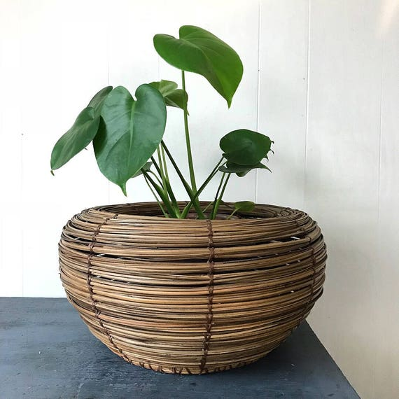 vintage coil basket - large round brown bamboo planter - boho home storage