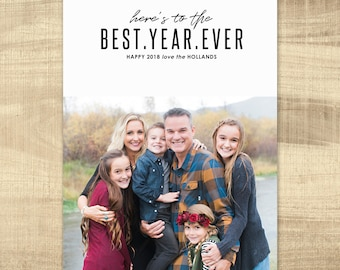 2018 New Years Card, Modern New Years Card, Photo New Years Card, Holiday card, Printable New Years Card - best year ever 2018