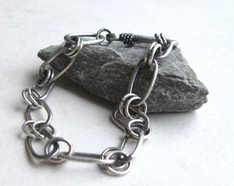Handmade sterling silver oval link chain bracelet,   oxidized sterling chain bracelet with hook claasp