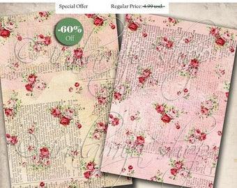 SALE FLORAL SCRIPT backgrounds Collage Digital Images -printable download file-
