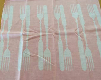 Vintage Knife & Fork Kitchen Towel  Pink UNUSED  Martex