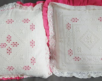 two vintage  embroidered cushion covers 20x20 inches