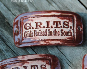 Grits Pottery Western Cuff Bead in Rust Red
