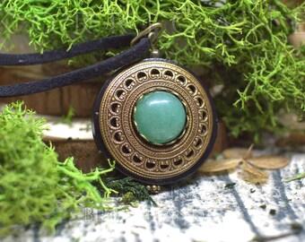 Protection Necklace Pendant 'Amddiffyn' Amulet - Aventurine - Wood - Wicca - Energy - Lithotherapy