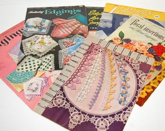 6 Crochet & Tatted Edgings Books 1940's-1950's Laces Insertions Handkerchief