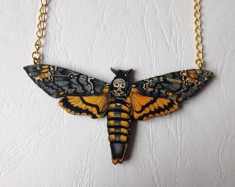 Butterfly Necklace Sphinx moth wooden death head moth