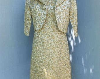 Vintage 1960s Style Dress w/Matching Elbow Sleeve Jacket, Green and Yellow Satin Brocade