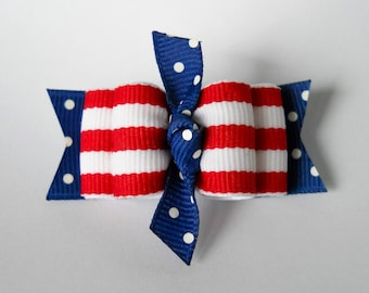"Dog Bows- 7/8"" 4th Of July Dots and Stripes Knot Dog Bow"