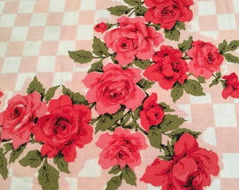 Vintage Pink /Red Rose Tablecloth