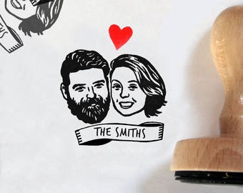 Custom portrait Wedding favors for guests Save the date Personalized gift Unique couples' art / stamp mr mrs / bachelorette marriage