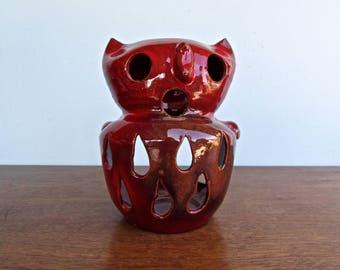 Celia Cole Perkinson, Cole Pottery, Signed Celia Cole 1977, Owl Lantern, Gorgeous Ox-Blood Red Ceramic Glaze over Red Clay
