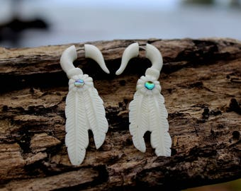 Fake Gauge Earrings - Hand made , Bone,tribal style,organic,fake piercings,naturally