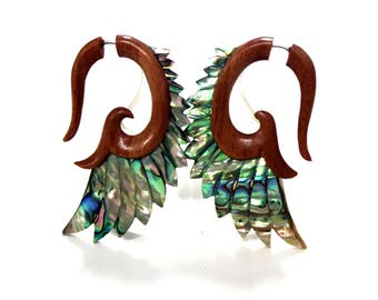 Fake Gauge Earrings Abalone Shell & wood  Earrings - Spiral Hand Made Tribal Fake Piercings faux gauge