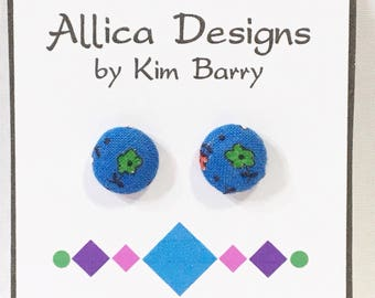 Earrings ~ Blue Floral Covered Button Earrings~  Free Shipping in the US